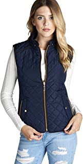 Quilted Padding Vest with Suede Piping Details Sizes from S-3XL