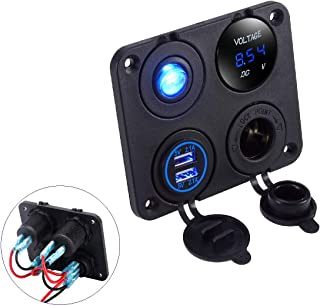 LiDiVi Dual USB Socket Charger 2.1A & 2.1A + LED Voltmeter + 12V Power Outlet+ ON-Off Toggle Switch, 4 in 1 Multifunction Panel for Car Boat Marine RV Truck Vehicle