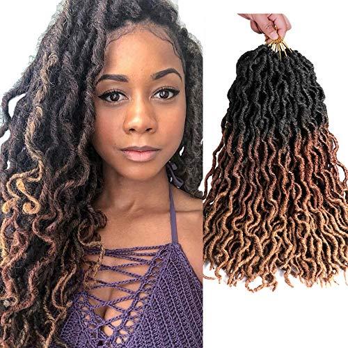 7Packs/Lot Goddess Faux Locs Crochet Hair Hair Extension 20 Inch Soft Gypsy Loc Ondulato Crochet trecce ricci ondulati Twist Dreadlocs Extensions di capelli sintetici (T1B/30/27#)