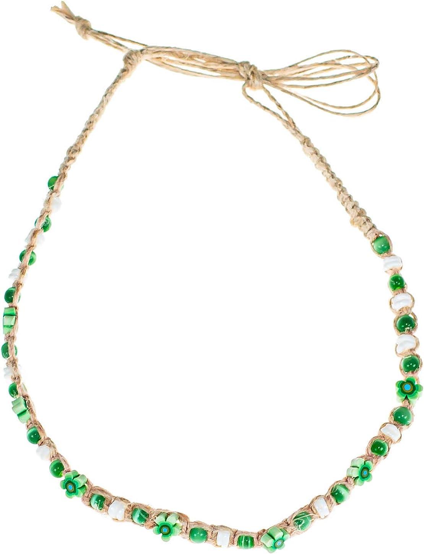 BlueRica Hemp Choker Necklace with Puka Shells, Glow, and Fimo Flower Beads