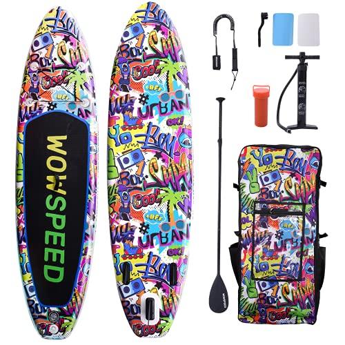 Tabla de surf de remo, hinchable, 320 x 83 x 15 cm, juego de tabla SUP de 8,7 kg, accesorios completos, canoa hinchable, juego de tabla de surf, bomba, bolsa impermeable (graffiti 2)