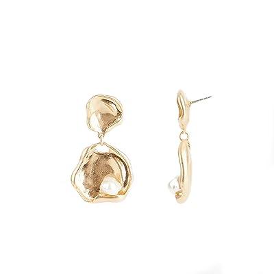 Rebecca Minkoff Organic Metal and Pearl Large Drop Earrings (Gold) Earring