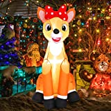 MAOYUE Christmas Inflatables 4FT Christmas Reindeer Decorations Outdoor Inflatable Blow Up Christmas Decorations Built-in LED Lights with Tethers, Stakes for Outdoor, Yard, Roof, Lawn