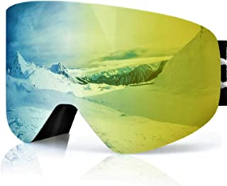 devembr OTG Snow Goggles,Ski Goggles Anti-Fog, Magnetic Snowboard Goggles 100% UV Protection, Interchangeable Lens for Men Women Skiing Snowmobile Skating