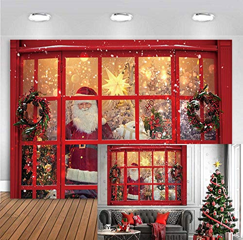 Christmas Santa Claus Photography Backdrop Xmas Winter Shop Window Gifts Horse Santa Claus Background Photo Booth 7x5FT