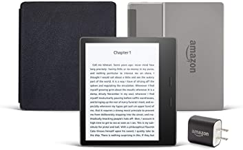 Kindle Oasis Essentials Bundle including Kindle Oasis (Graphite, Ad-Supported), Amazon Leather...