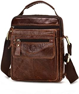 Haibeisi Fashion Unique Elegant Small Tas Bahu Pria Kulit Cellphone Crossbody Bag Business Men Shoulder Bag Small (Color : Brown, Size : S)