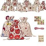 Sfit 24 Calendario de Adviento para rellenar, bolsas de tela, bolsas de regalo para Navidad, bolsas de regalo para hombres, niños y mujeres, calendario de adviento 2020