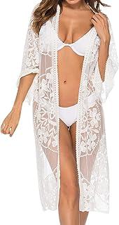 Mujer Trajes de Baño Cubrir Encajes Bikini Camisola y Pareos Cárdigan de Playa Blusa Larga de Verano Vestido de la Playa 3/4 Tops de Manga