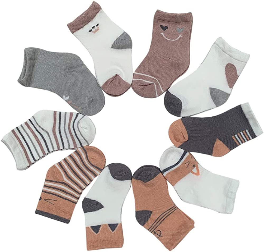 Toddler Cotton Novelty sock Cute Sock Assorted Animal Socks Soft Fun Color Ankle Gift Baby Shower Kids Socks 10 Pairs(Girl, 3~5 Years)