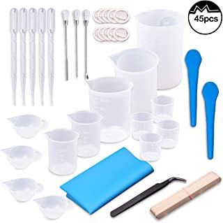 Moi Doi 45PCS Resin Mixing Cups Tools Kit, Graduated Plastic Silicone Measuring Cups, with Pipettes Mixing Stir Sticks Finger Cots Tweezer Silicone Mat for DIY Resin Casting Painting Jewelry Making