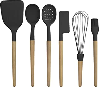 Country Kitchen 6 pc Non Stick Silicone Utensil Baking Set with Rounded Wooden Handles for Cooking and Baking - Black