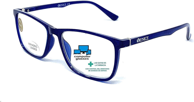 VENICE EYEWEAR OCCHIALI | Gafas de lectura con filtro bloqueo de luz azul para gaming, ordenador, móvil. Anti fatiga professional ULTRALIGERAS y resistente (Azul con bloqueo de luz azul, +0.00)