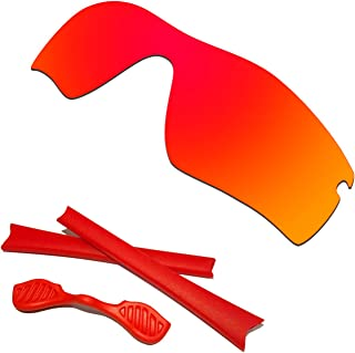 HKUCO Red Polarized Replacement Lenses plus Red Earsocks Rubber Kit For Oakley Radar Path