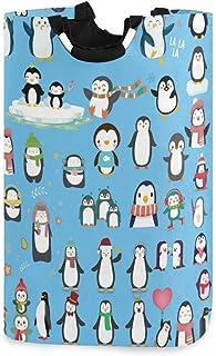 DOMIKING Panier à linge pliable en forme de pingouin avec poignée pour chambre d'enfant