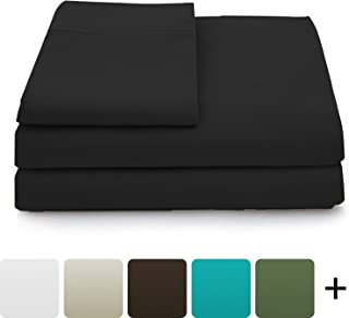 Cosy House Collection Luxury Bamboo Bed Sheet Set - Hypoallergenic Bedding Blend from Natural Bamboo Fiber - Resists Wrinkles - 4 Piece - 1 Fitted Sheet, 1 Flat, 2 Pillowcases - Cal King, Black