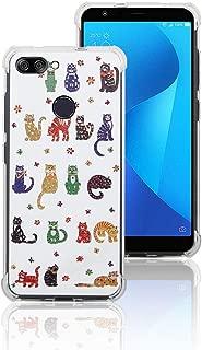 Weeya for Asus Zenfone Max Plus (M1) Case,Pattern Design Ultra Lightweight Reinforced 4-Corners Bumper Flexible TPU Cover for Asus Zenfone Max Plus (M1) (Cat)