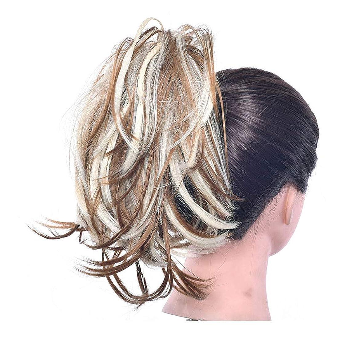鋼フリンジ水曜日ポニーテールシニョンドーナツアップリボンアクセサリー、女性のためのカーリー波状の作品、乱雑な髪のお団子のシュシュ拡張