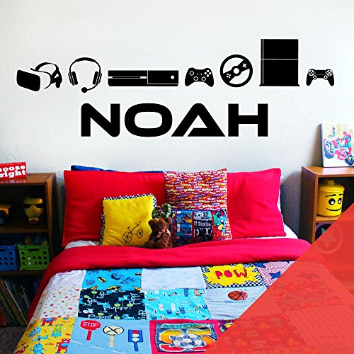Wall Designer Nom personnalisé garçons Stickers muraux – Les Joueurs, Xbox, Playstation, Jeu, Consoles de Jeu, Coquelicot, Large (950x290mm)