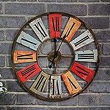 Reloj de Pared Reloj de Pared de Color Antiguo Vintage, Reloj de Pared de Hierro Forjado de Estilo Industrial for decoración de hogar Bar Cafe Moderno Decoración de la Sala Cocina