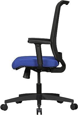 silla de oficina Rene con cubierta de tela en negro / azul | silla con respaldo