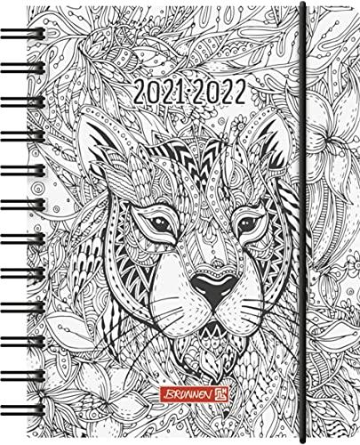 """BRUNNEN 1071755192 Schülerkalender 2021/2022 """"ZENart"""" 1 Seite = 1 Tag, Sa. + So. auf einer Seite, Blattgröße 12 x 16 cm, A6, PP-Einband"""