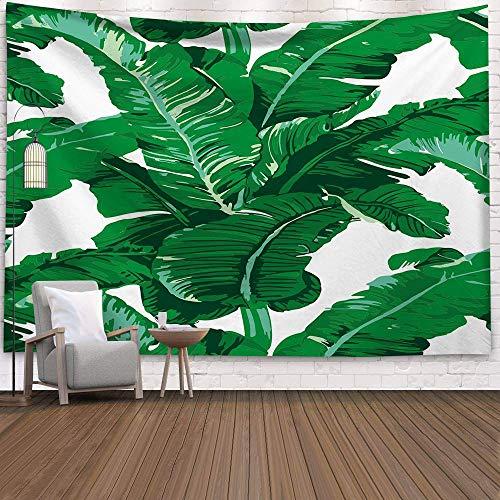 KHKJ Tapiz de Palmera Colgante de Pared Hojas Tropicales Flores Patrón Tapices Fondo Grande Tela de Pared de Techo Alfombra A13 150x130cm