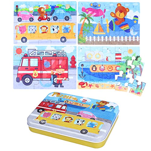 TOYMYTOY 4-In-1 Transportation Series Wooden Jigsaw Puzzle Sets