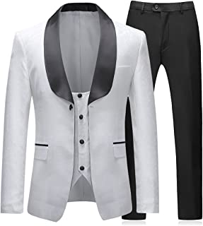 Boyland Mens 3 Pieces Tuxedos Vintage Groomsmen Wedding Suit Complete Outfits(Jackets+Vest+Trousers) Prom Formal Tuxedo Suit