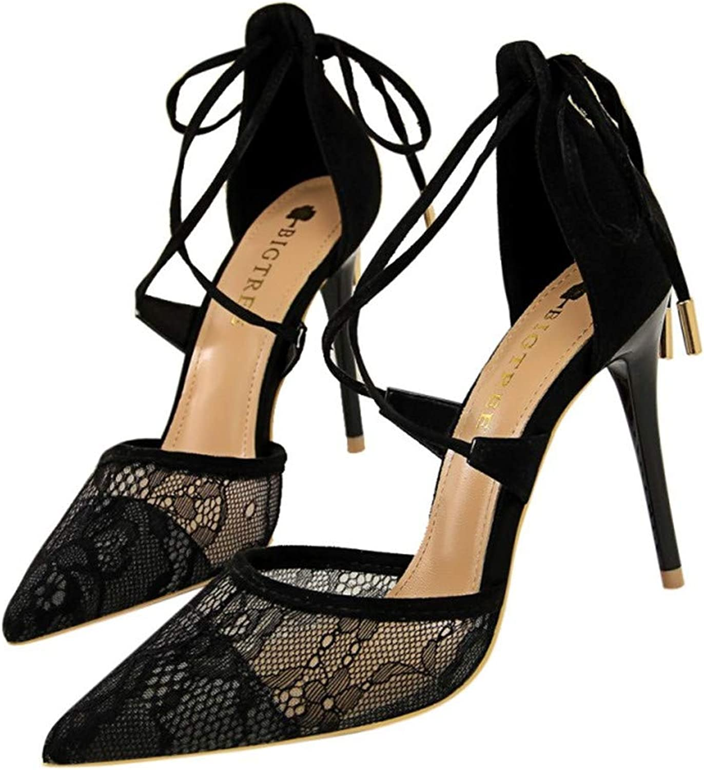 Summer Women High Heels Sandals shoes Party Dress Lace Cross-Tied Pointed Toe shoes