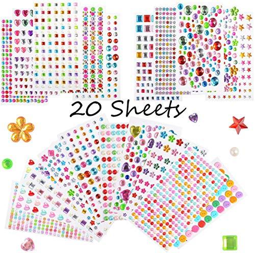 20 Hojas Pegatinas Brillantes para Decorar Diamantes Autoadhesivas, Diamantes Stickers de Imitación,...