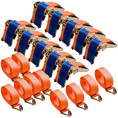 10 Stück 4000kg 5m Spanngurte mit Ratsche 2 teilig zweiteilig mit Haken Ratschengurt Zurrgurte 50mm 4000 daN 4t für die professionelle Ladungssicherung