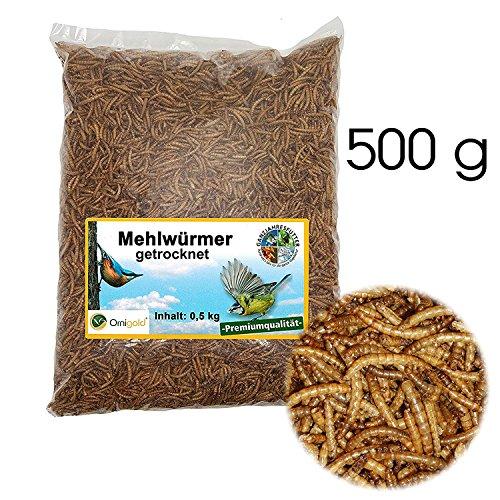 Ornigold Mehlwürmer getrocknet 500g Premiumqualität Insekten Wildvogelfutter – Ganzjahresfutter für Wildvögel, Hühner, Hamster, Reptilien und Koi