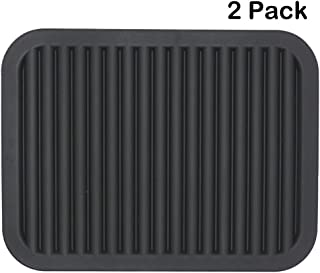 Smithcraft Silicone Trivets Mats for Hot Dishes and Hot Pots, Hot Pads for Countertops, Tables, Pot Holders, Spoon Rest Small Drying Mats Set of 2 Color Black