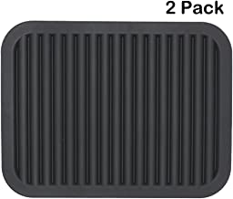 Lucky Plus Silicone Pot Mat for Countertop Trivet Pads Heat Resistant Table Dish Drying Mat or Placemats 2 Pack,Size:9x12 Inch, Color: Black, Shape:Rectangular