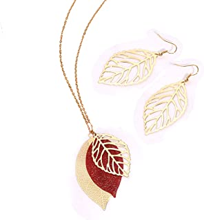 NVENF Leaf Earrings and Long Necklaces Set for Women Boho Gold-Tone Multi Tiered Leaves Delicate Chain Dangle Necklace Sim...