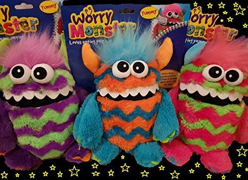 Worry Monster Plüsch Stofftier pink & grün