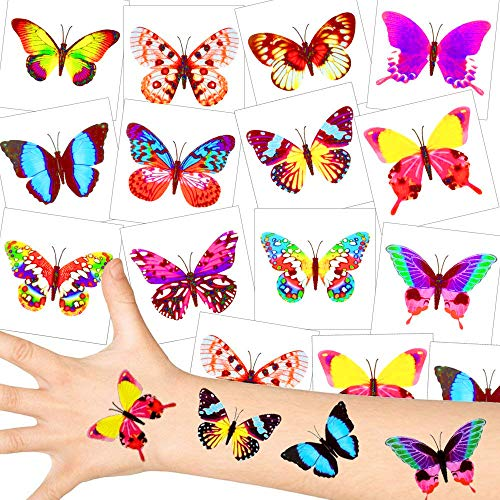 German Trendseller® - Schmetterling Tattoos - Set ┃ NEU ┃ Party Tattoos ┃ Kindergeburtstag ┃ Mitgebsel ┃12 Tattoos