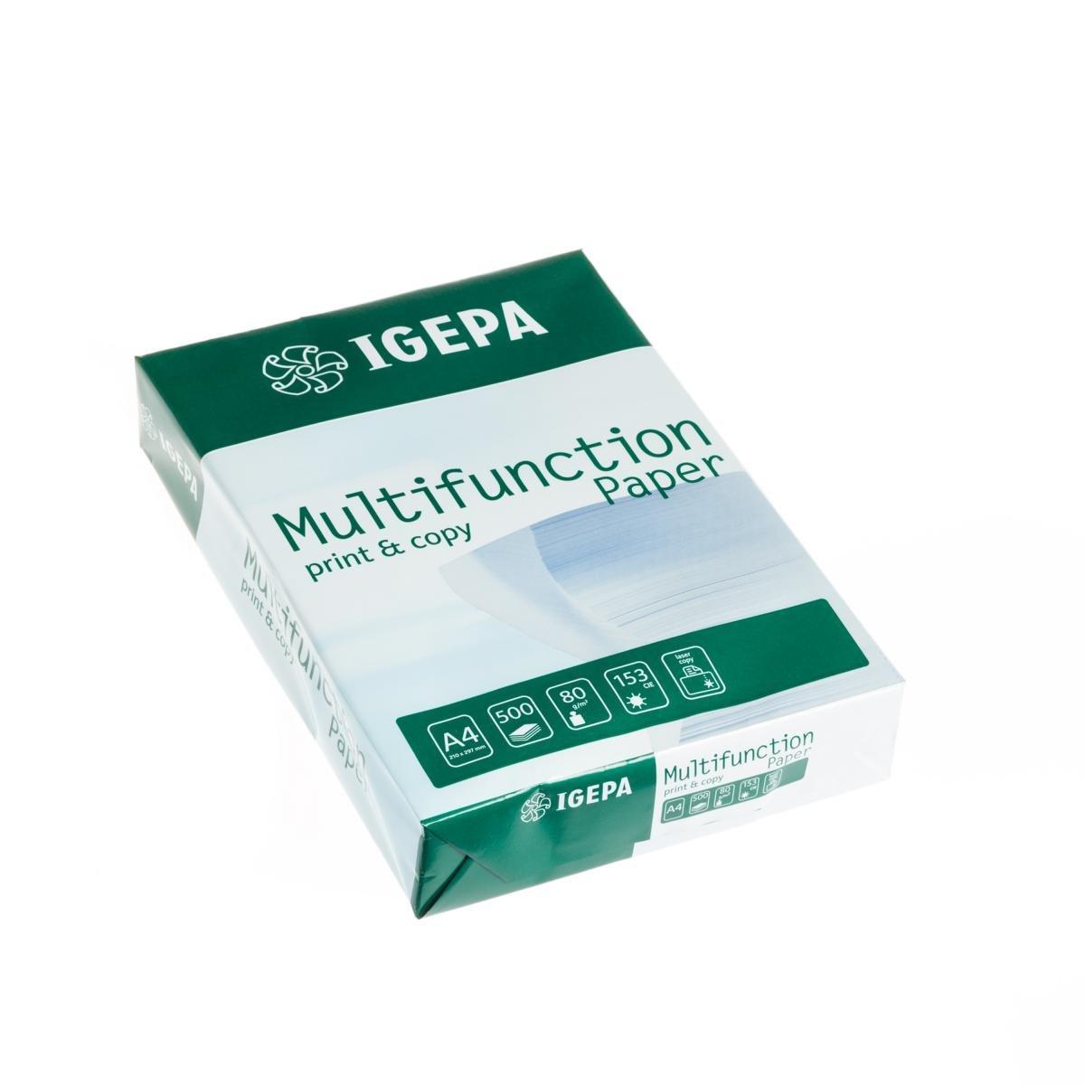 Igepa Multifunction Paper DIN A4 80 g/m², Blanco 10 Pack de 500 hojas de papel Oficina, 5.000 hojas: Amazon.es: Oficina y papelería