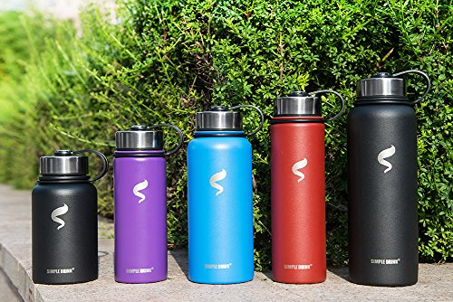 SIMPLE DRINK Stainless Steel Insulated Water Bottle - Wide Mouth Leak Proof Vacuum Outdoors Coffee Mug - Ice Cold Up to 24 Hrs/Hot 13 Hrs Double Walled Flask - Laser Marking