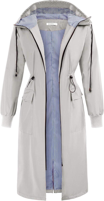 JASAMBAC Women's Long NEW before selling Rain Outdoor Waterproof 5 ☆ popular Jacket Lightweight