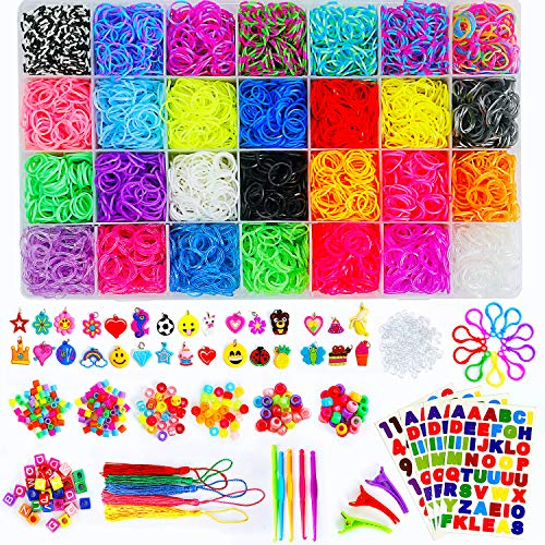Momo's Den 11910+ Rainbow Rubber Bands Refill Kit, 11000 Loom Bands, 260 Beads, 600 S-Clips, 30 Charms and More, Bracelet Making kit for Girls and Boys