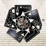 YHZSML I Love Poker Fichas de Casino Apuestas Reloj de Pared Moderno Poker Blackjack Juego Picas Royal Flush Vinyl Record Reloj de Pared
