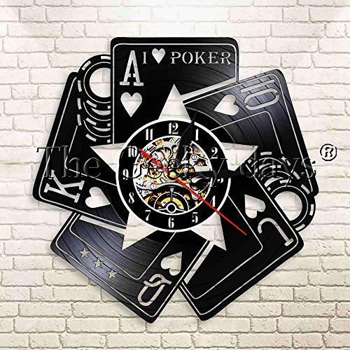 1 Pieza I Love Poker Casino fichas de apuestas Moderno Reloj de Pared Poker Blackjack Juego Espadas Royal Flush Vinilo Reloj de Pared con Registro