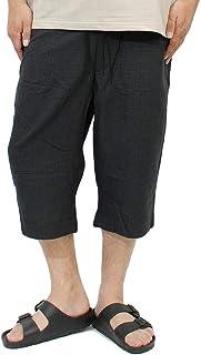 クロップドパンツ メンズ 大きいサイズ ゆったり ウエストゴム 薄手 チェック柄 イージー ショートパンツ