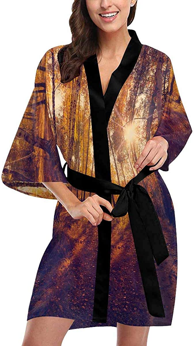 Custom Autumn Forest Max 58% OFF Women Kimono Max 70% OFF Robes Cover Beach Up for Parti
