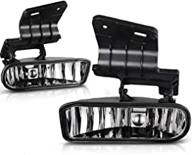 Avec Chevy Silverado 1999-2002 Suburban 2000-2006 Chevy Tahoe 2000-2006 Fog Lights Halogen Lamp Chrome Clear Lens w/Bulbs replacement