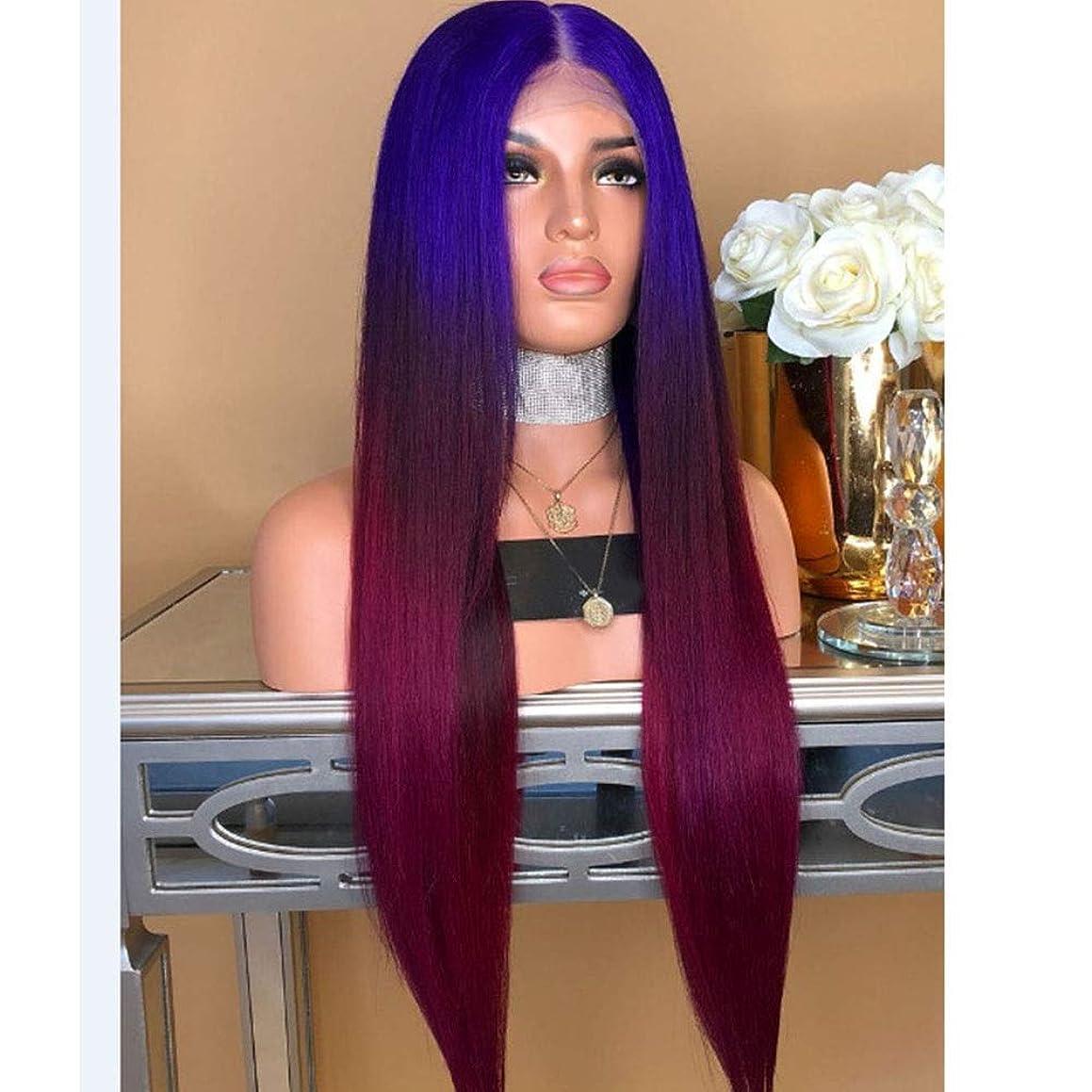タックル悪行敵Yrattary 女性のミディアムストレートヘア三色グラデーションウィッグ耐熱ミドルウィッグ女性のための合成ヘアレースウィッグロールプレイングかつら (色 : Photo Color)