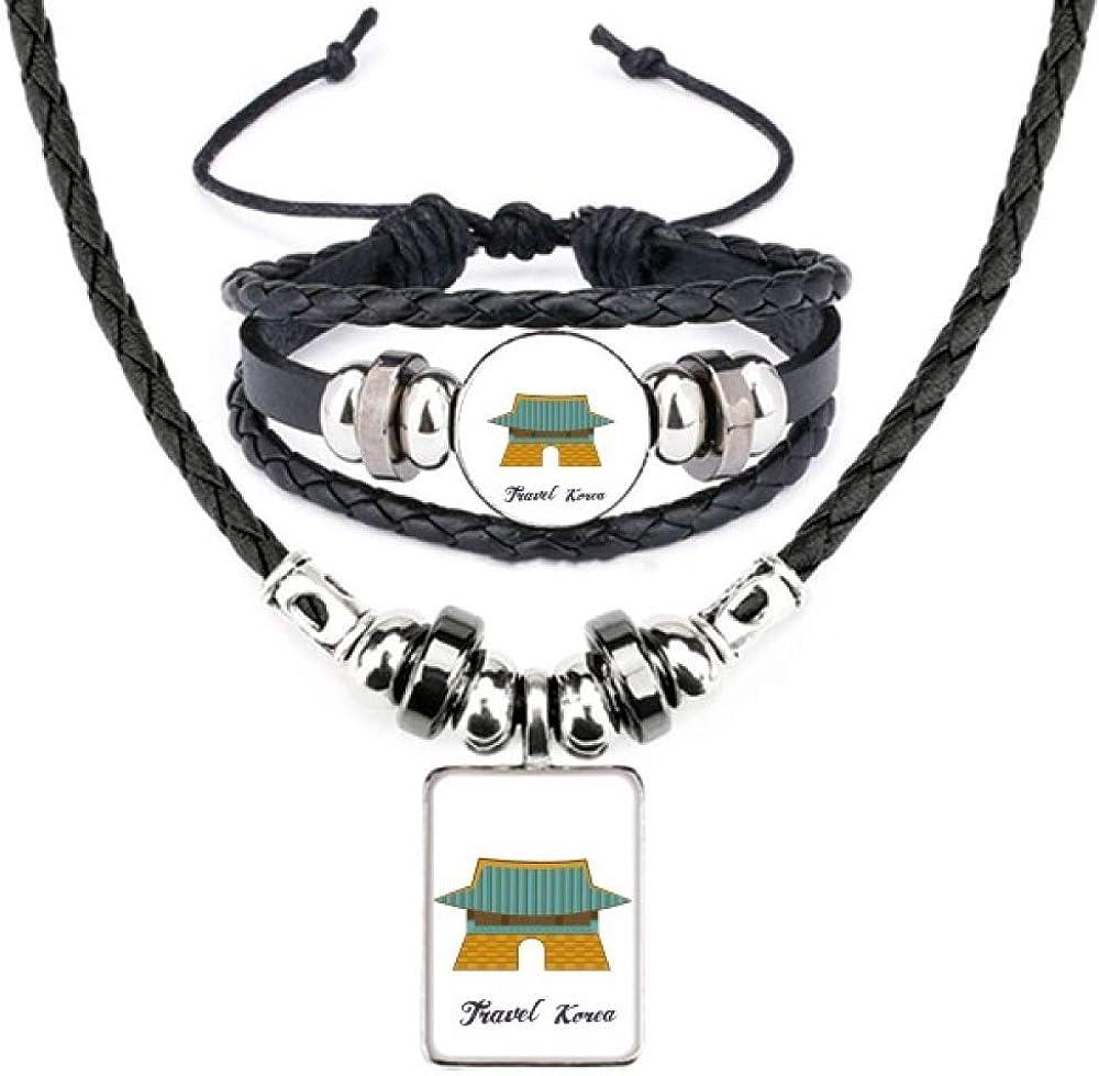 South Korea Gwanghwamun Gate Leather Necklace Bracelet Jewelry Set