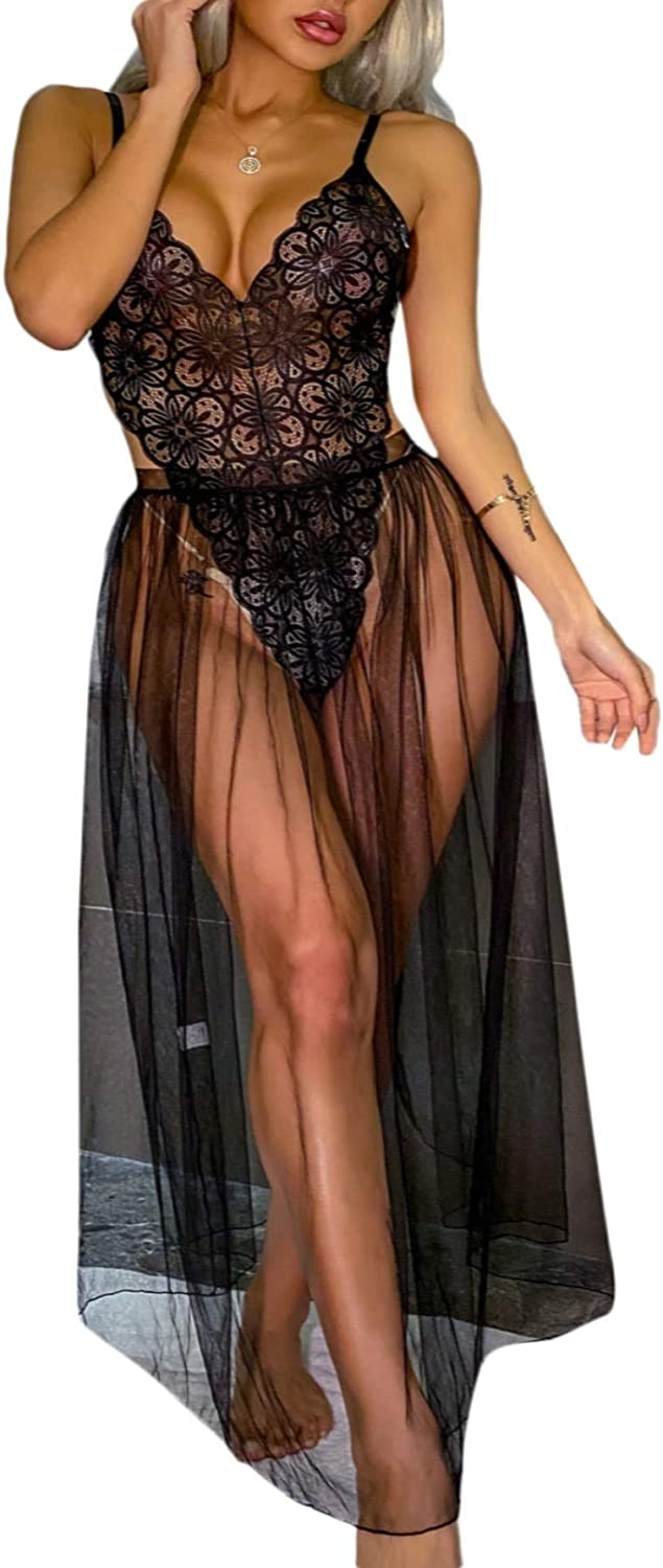 SheIn Women's One Piece Lingerie Lace Deluxe Teddy Deep Fort Worth Mall Backless Body V